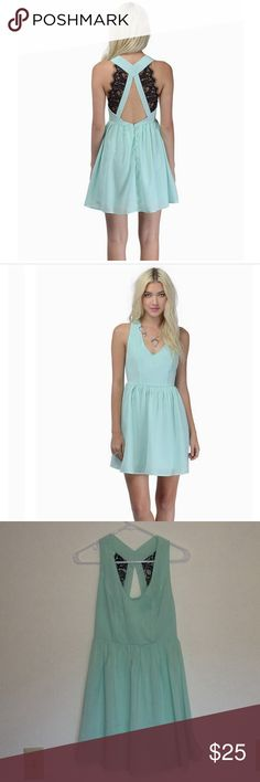 Mint Green, Lace Back, Skater Dress This dress was worn once to a wedding. Perfect color for spring and summer! All reasonable offers will be considered. Tobi Dresses