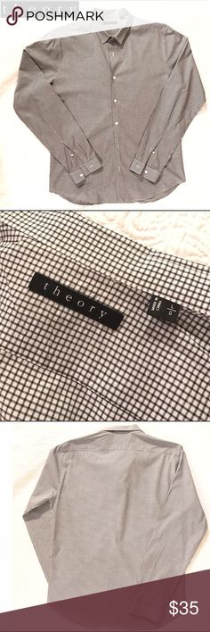 """Men's THEORY Gingham Button Down Sz. Lg Men's THEORY Gingham Button Down Sz. Lg. Excellent condition! 100% cotton, soft, & lightweight. Perfect for spring and summer! 18"""" shoulder to shoulder. Theory Shirts Dress Shirts"""