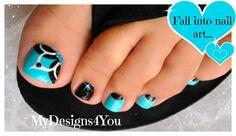 Baby Blue, Floral Toenail Art, Pedicure Tutorial ♥