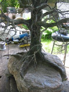 Copper wire tree - Three feet high Bonsai Styles, Wire Trees, Totems, Copper Wire, Art Forms, Outdoor Decor, Nature, Plants, Projects