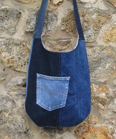 Shoulder bag handbag shoulder denim, cotton, watermelon, jeans, reversible Pocket - recycling by UneHoussePourMaPomme on Etsy https://www.etsy.com/listing/550964691/shoulder-bag-handbag-shoulder-denim