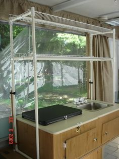 Camper shelves made from PVC & held together with zip ties?
