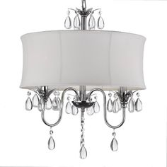 Shop for White Drum Shade Crystal Ceiling Chandelier Lighting Pendant Light Fixture Light Lamp Lighting Lamp. Get free delivery On EVERYTHING* Overstock - Your Online Ceiling Lighting Store! Get in rewards with Club O! Plug In Chandelier, Crystal Chandelier Lighting, Ceiling Chandelier, Chandelier Shades, Ceiling Lights, Lamp Shades, Chandelier Ideas, Simple Chandelier, Rope Lighting