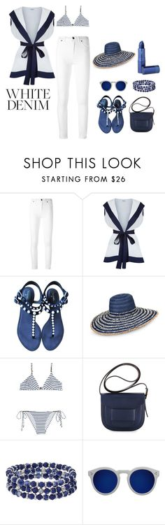 """""""Untitled #1271"""" by polychampion-805 ❤ liked on Polyvore featuring Tom Ford, Chanel, Armani Jeans, Melissa Odabash, Tory Burch, Chaps, Illesteva, Lipstick Queen and whitejeans"""