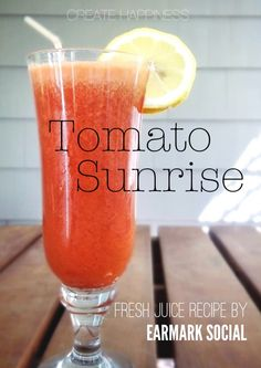 Tomato Sunrise, juicing recipe » One of my favorites and full of yummy summer fruits and veggies!