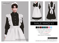 Sims 4 Body Mods, Sims 4 Mods, Sims4 Clothes, Sims Four, Maid Outfit, Sims 4 Cc Finds, Sims 4 Clothing, The Sims4, Outfits