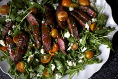 steak salad with blue cheese by smitten. Delicious dressing recipe too. Subbed in balsamic for wine vinegar.