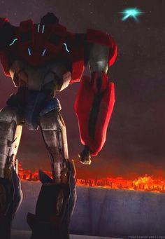 Optimus Prime from Transformers Prime BeastHunters Predacons Rising, loving this art - gold.