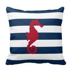 Red Sea horse Navy blue stripes nautical pillow  #throwpillows#homedecor#pillows#nautical#sailing#sailors#boating#beachhouse#cabin#beach#ocean#stripes#seahorse#marinelife