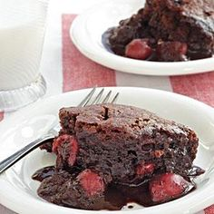 As the cake bakes, it separates into two layers, a tender chocolate spongelike cake and a rich chocolate-cherry sauce.