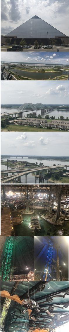 Thought that we'd drop off the trolleybus and look at the big pyramid in Memphis. Amazing Bass Pro shop where you can buy rainwear, sweets, quad bikes, boats, guns and targets: anything for hunting and fishing etc. Also has outlook at top higher than the Empire State building. Great views from there for $10.