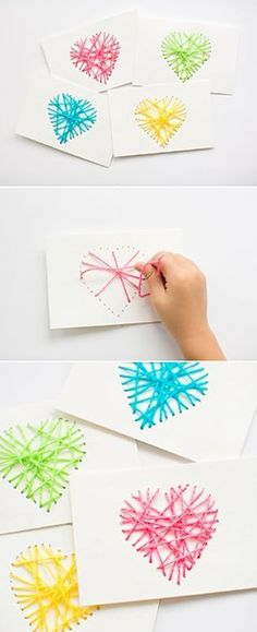 Make String Heart Yarn Cards. These make pretty handmade Valentine cards and are… Make String Heart Yarn Cards. These make pretty handmade Valentine cards and are a great threading sewing activity for kids! Kids Crafts, Projects For Kids, Diy For Kids, Diy And Crafts, Arts And Crafts, Easy Crafts, Sewing For Kids, Project Ideas, Valentine's Day