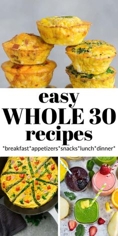 If you're ready to start Whole 30, you need this list! These easy Whole 30 Recipes will make your life so much easier! You'll find the best, easiest gluten-free, grain-free and healthy recipes for breakfast, appetizers, snacks, lunch and dinner. #whole30 #paleo #whole30breakfasts #whole30recipes Whole 30 Snacks, Whole 30 Lunch, Whole 30 Breakfast, Breakfast Snacks, Breakfast Recipes, One Pot Dinners, Lunches And Dinners, Easy Whole 30 Recipes, Healthy Recipes