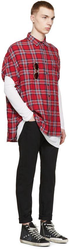 R13 - Red Check Cut Off Shirt
