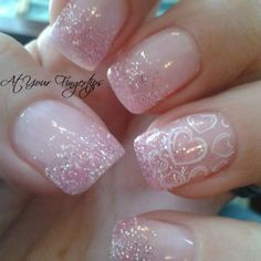 Weddbook ♥ This is pink diamond gel nails perfect to add charm. This is heart nail art perfect for party look. Get such an amazing nail art Frensh Nails, Manicure Gel, Pink Nails, Glitter Nails, Pink Glitter, Glitter Hearts, Nails 2016, Nail Gel, Fancy Nails