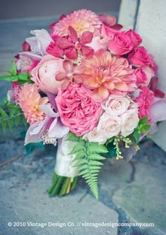 """All Pink"" Wedding Bouquet: Several Varieties Of Orchids, Dahlias, English Garden Roses, Peonies, Roses, Tea Roses, Green Fern"