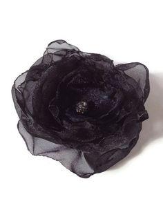 Black Organza Flower, Black Wedding Hair Flower by OurPlaceToNest on Etsy