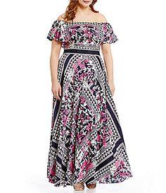 5cf7f82d1ff Eliza J Plus Off-the-Shoulder Printed Maxi Dress