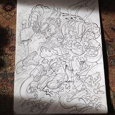 Full back susanoo fighting the 8 headed serpent. Drawing the rest on to fit.