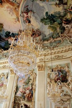 Architectural details inside Nymphenburg Palace in Munich, Germany