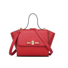 Red Women Trapeze bag lady shoulder bag