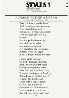 Poem by Edgar Allan Poe  - This one is my favorite.