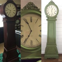 Grandfather clock re-do. Chalk paint, distressed, and sealed with dark wax. Clock Painting, Diy Clock, Painted Furniture Cabinets, Chalk Paint Projects, Decorative Painting, Repurposed Grandfather Clock, Grandmother Clock, Diy Déco, Painted Furniture