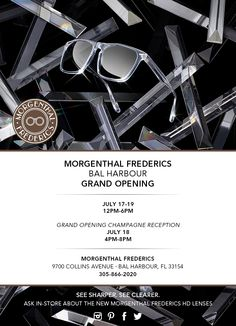Come Celebrate our newest Morgenthal Frederics Boutique Opening! July 19th, 2014 at Bal Harbour Shops