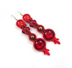 Red earrings soutache earrings long earrings long by sutaszula