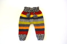 Hand Knit Baby Boy Wool Pants Colorful with Pom Pom I-Cord Knit Drawstring, 3-6 months READY TO SHIP %100 Wool yarn %100 Hand knitted.