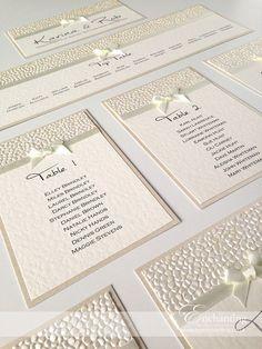 Ivory Wedding Stationery   Bespoke Design - DIY Table Plan   Featuring ivory pebble paper, bridal white satin ribbon and pretty bow embellishment   Luxury handmade wedding invitations and stationery #byenchanting