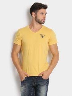 Wrangler Men Yellow Slim Fit T-shirt