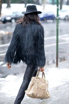 Black fur & Balenciaga.
