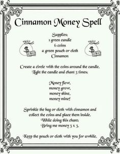 Cinnamon Money Spell