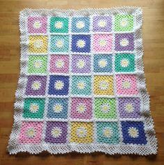Beautiful handmade crochet baby blanket afghan for  cot or pram