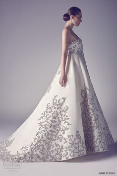 ashi studio couture 2015 strapless straight across neckline filigree floral embroidery chic ball gown wedding dress side view