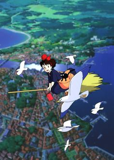 Kiki's Delivery Service (魔女の宅急便 Majo no Takkyūbin / 1989 written, produced and directed by Kiki Delivery, Kiki's Delivery Service, Hayao Miyazaki, Fantasy Films, Ghibli Movies, Streaming Vf, Illustrations, Conte, Movies Online