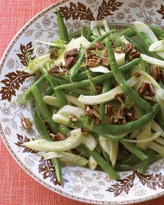 Green Bean and Fennel Salad with Pecans (minus the pecans) No nuts during training!