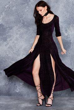 Burned Velvet Aubergine Long Sleeve Maxi Dress - LIMITED