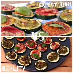 Courgette pizza Expectation Vs Reality, Pizza, Pesto, Zucchini, Vegetables, Mini, Food, Veggie Food, Vegetable Recipes