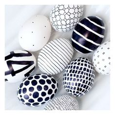 Black White Easter Eggs ❤ liked on Polyvore