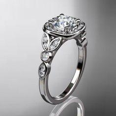 14kt  white gold diamond leaf and vine wedding ring,engagement ring......