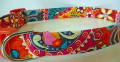 Dog Collar  Fall Colored Paisley Flower Dog by katiesk9kollars