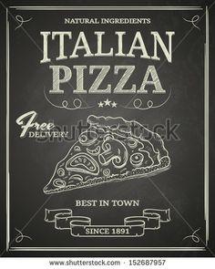 italian pizza poster on black