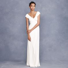 J Crew Cecelia gown (this one is much more realistic than any of the other ones) - add a long purple sash and a luckenbooth and I think it would be fabulous. $495