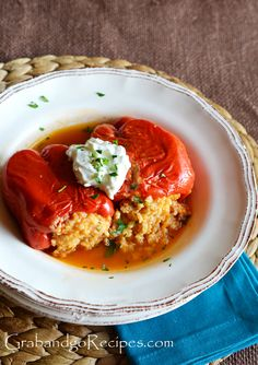 Stuffed Bell Peppers baked in creamy Tomato sauce