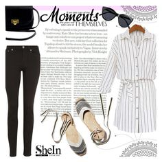 """""""White striped blouse - Shein"""" by natasa-topalovic ❤ liked on Polyvore featuring Topshop, Acne Studios, Soludos and Le Specs"""