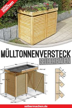 Mülltonnen-Box selber bauen Where only with the unsightly garbage bin? In the house you do not want them, in the front yard they are no decoration and in the shed difficult to reach. A good hiding place is built fast! Garden Types, Diy Garden, Herb Garden, Home And Garden, Pergola Patio, Backyard, Bin Shed, Garbage Can, Hiding Places