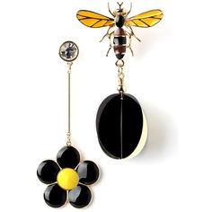 Flower Bee Earring (38 CAD) ❤ liked on Polyvore featuring jewelry, earrings, flower earrings, blossom jewelry, bumble bee earrings, honey bee earrings and flower jewelry