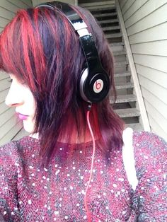 Red and purple hair...like this, but a little more subdued.